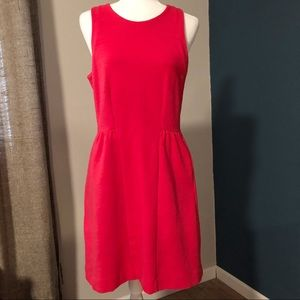 Coral knit fit and flare dress